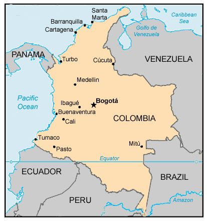 Map of Colombia, showing Cartagena in north of country