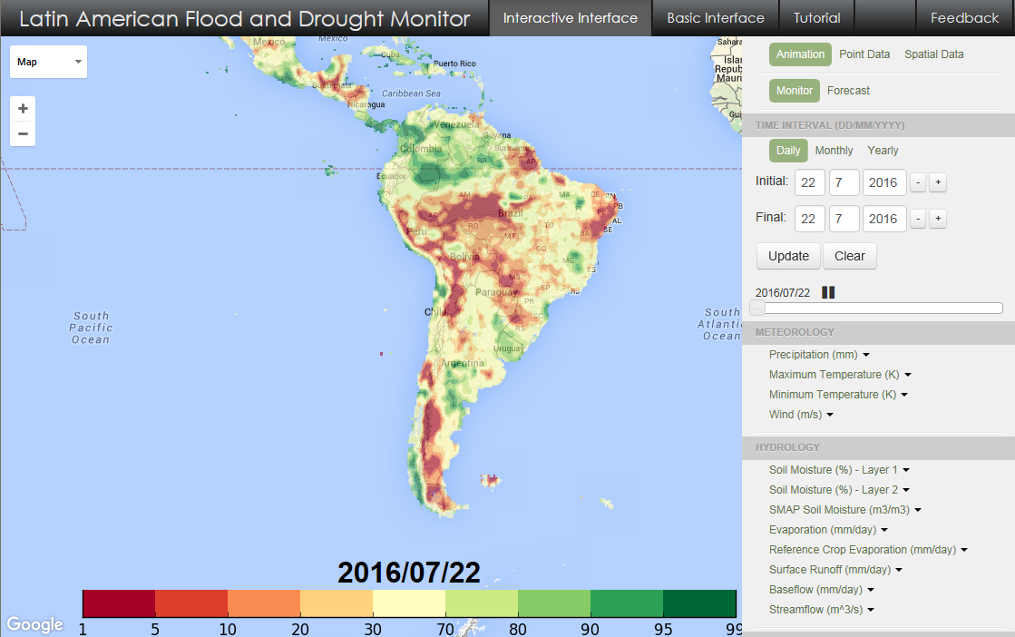 The Flood and Drought Monitor interface